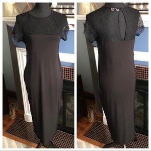ASOS black long lace dress, US size 10